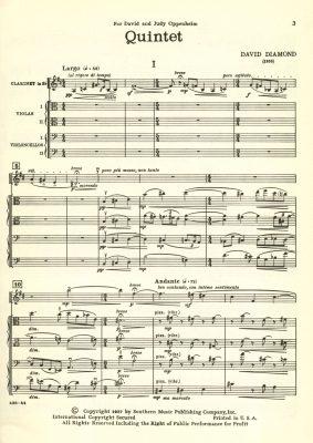 David Diamond - Quintet In B Minor For Flute String Trio and Piano - Serenade For Flute and Violin - Quintet For A-Clarinet String Trio and Piano